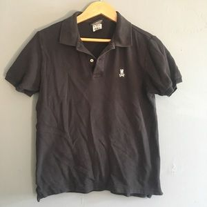 Psycho Bunny Black Polo Shirt Button Collar Size 4